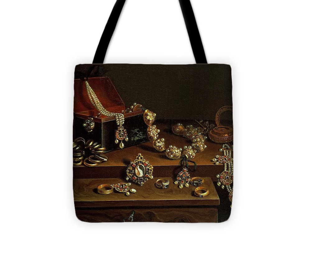 Still Life Tote Bag featuring the photograph Casket Of Jewels On A Table, Principally Of German Origin 1600-50 by Pieter Gerritsz. van Roestraten