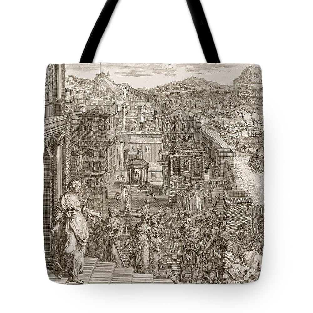 Prophetess Tote Bag featuring the drawing Cassandra Foretells The Trojans Their by Bernard Picart
