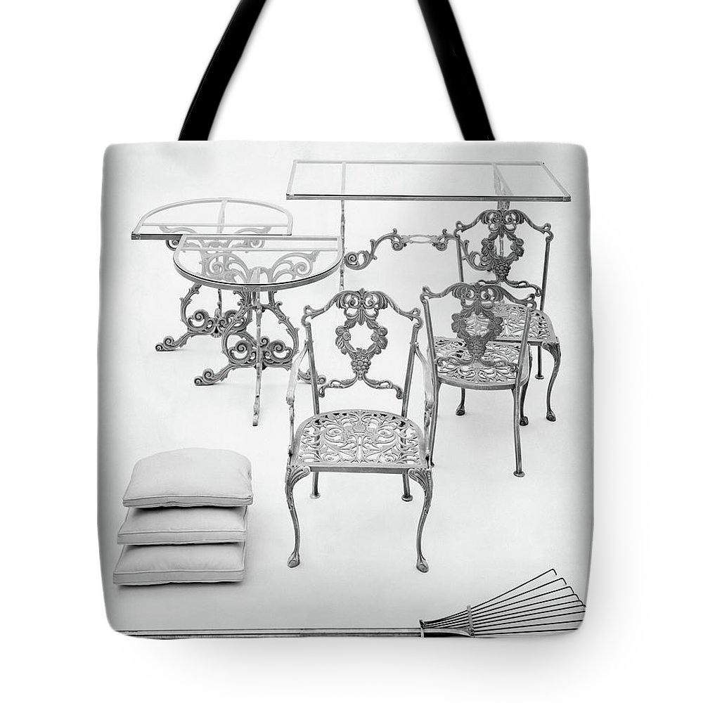 Furniture Tote Bag featuring the photograph Cast Aluminum Furniture By Molla by Haanel Cassidy