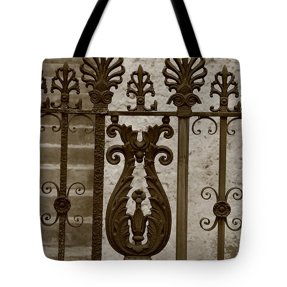 Cast Iron Tote Bag featuring the photograph Cast Iron Fence by Dwight Cook