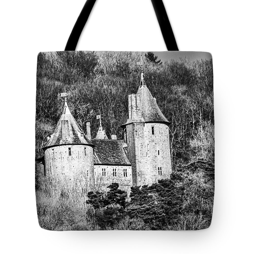 Castell Coch Tote Bag featuring the photograph Castell Coch Mono by Steve Purnell