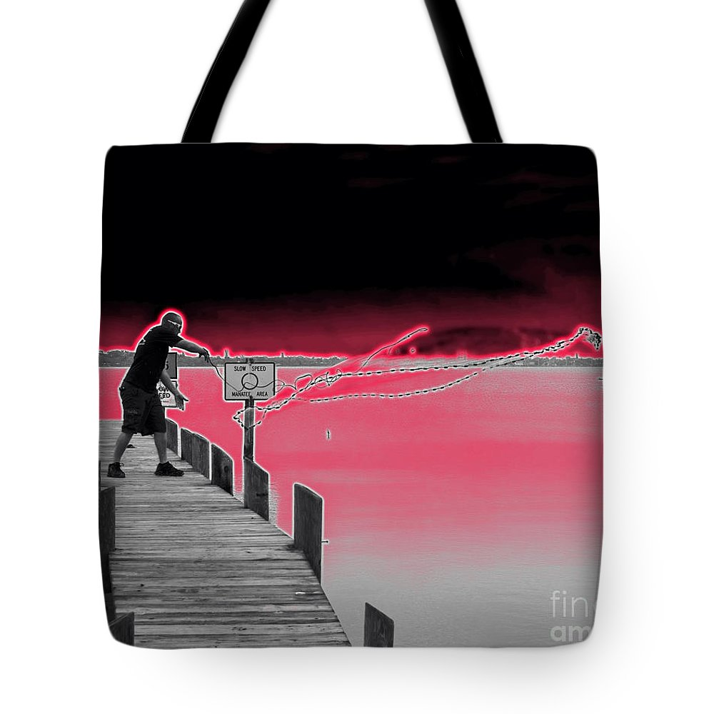 Casting Tote Bag featuring the photograph Casting His Net by Allan Hughes