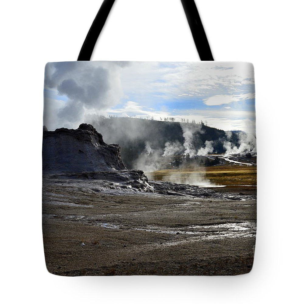 Castle Geyser Tote Bag featuring the photograph Castle Geyser In Yellowstone National Park by Catherine Sherman