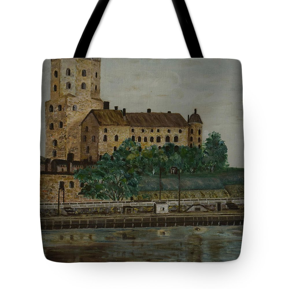 Castle Of Vyborg Tote Bag featuring the painting Castle Of Vyborg by O Ronnberg