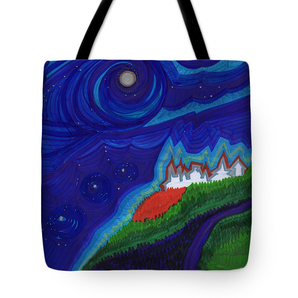 First Star Art Tote Bag featuring the drawing Castle On The Cliff By Jrr by First Star Art