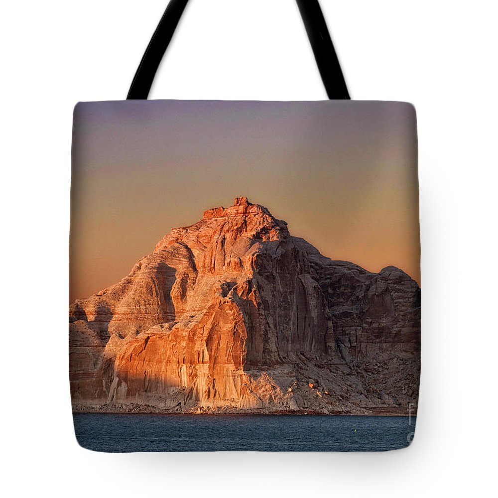 Lake Powell Tote Bag featuring the photograph Castle Rock by Claudia Kuhn