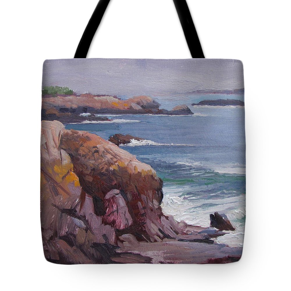 Ocean Tote Bag featuring the painting Castle Rock by Dianne Panarelli Miller