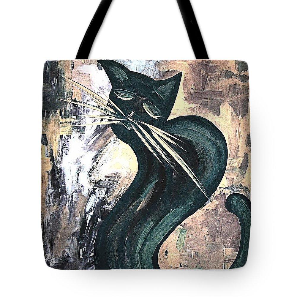 Abstract Tote Bag featuring the digital art Cat 527-11-13 Marucii by Marek Lutek