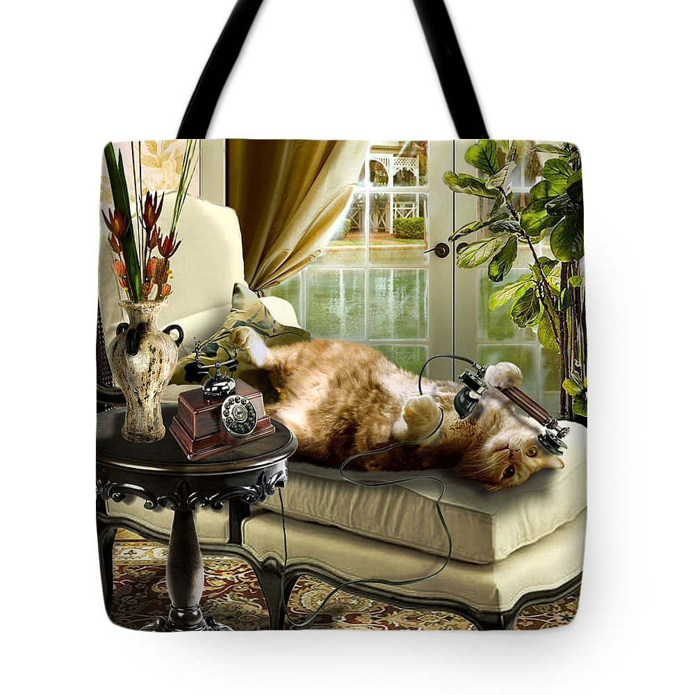 Pet Cat Painting Tote Bag featuring the painting Funny pet talking on the phone by Regina Femrite