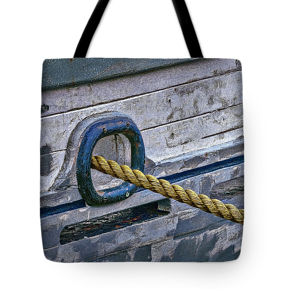 Hawser Tote Bag featuring the photograph Cat Hole And Hawser by Marty Saccone