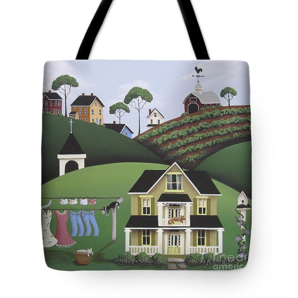 Art Tote Bag featuring the painting Cat Nap by Catherine Holman