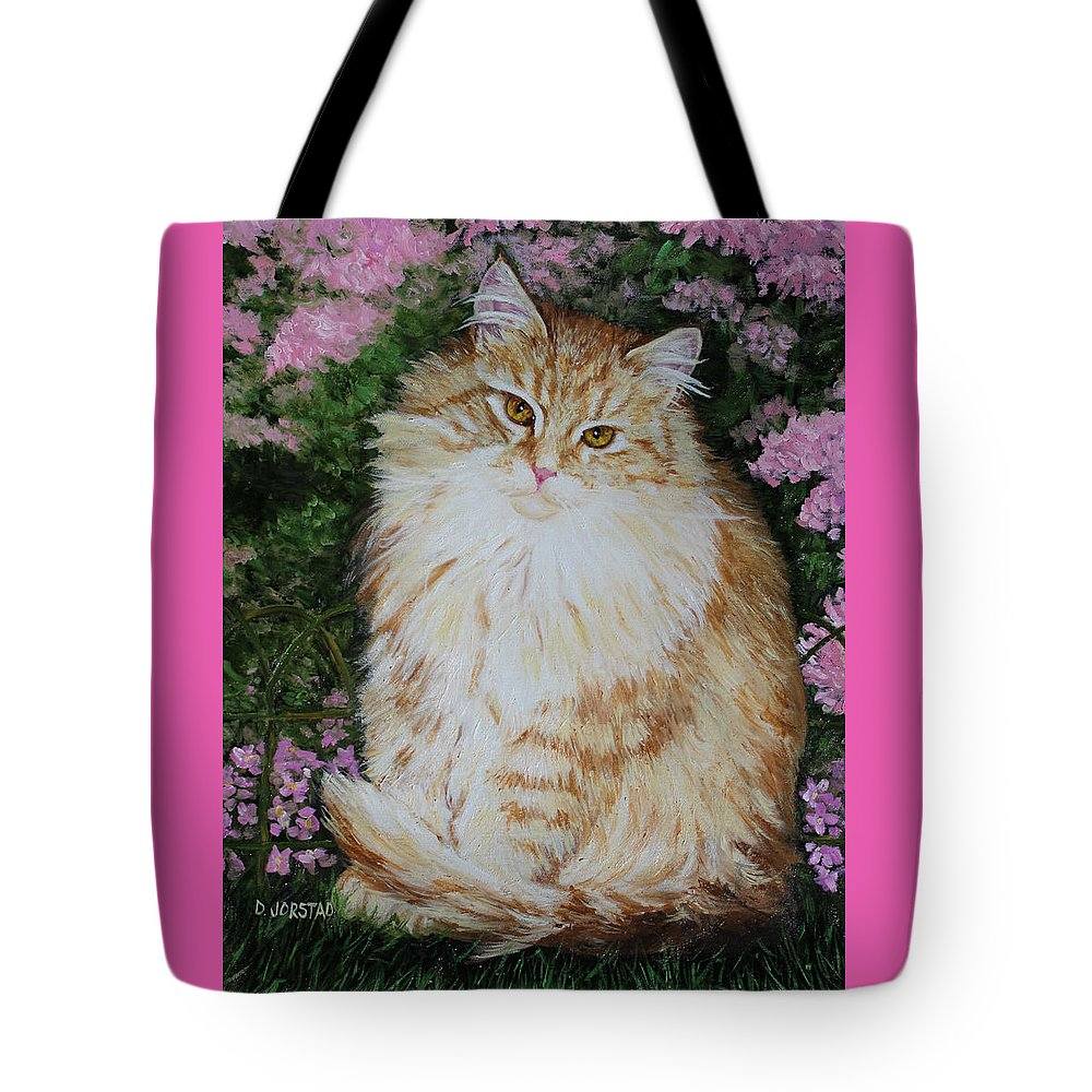 'cat Print Fine Art Tote Bag featuring the painting Kitten Cat Painting Perfect For Child's Room Art by Diane Jorstad