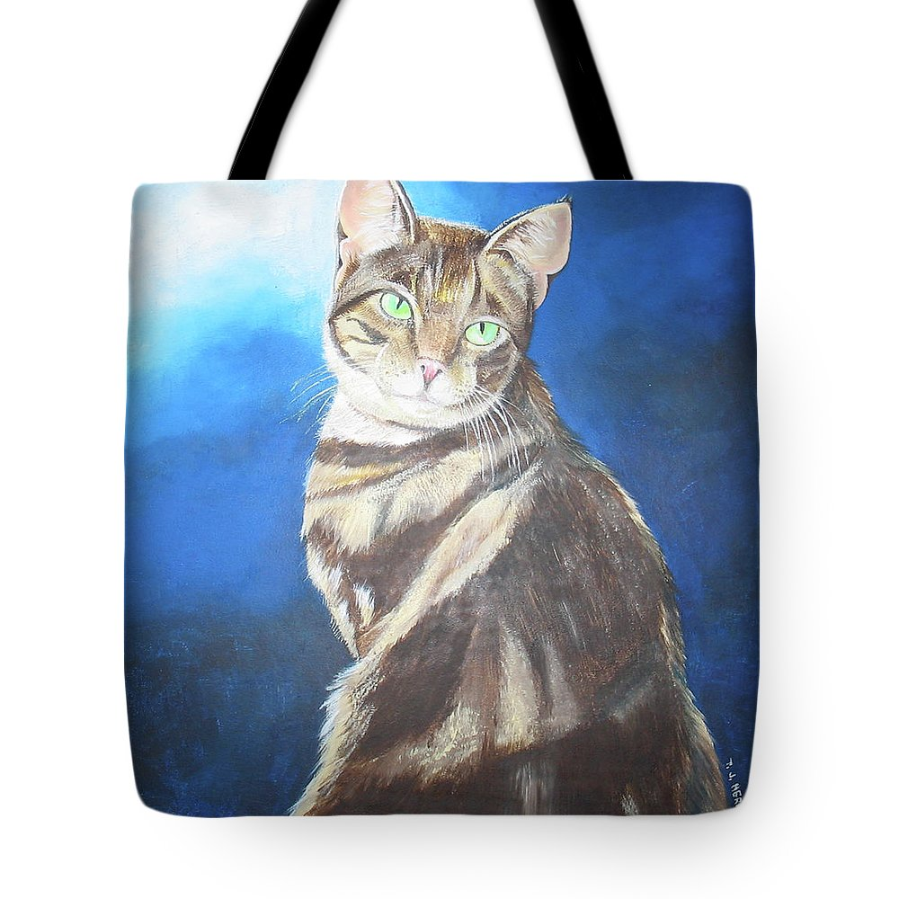 Persian Tote Bag featuring the painting Cat Profile by Thomas J Herring