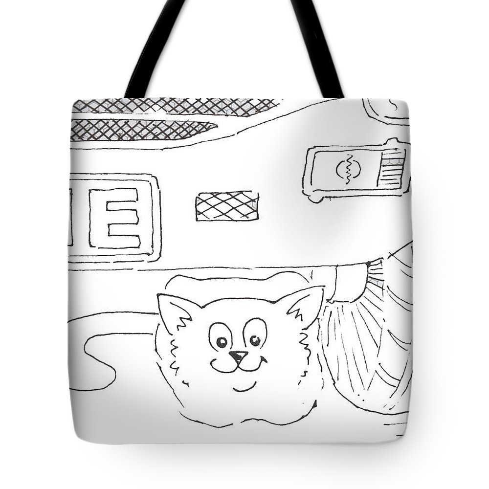 Tote bag drawing - Cat Tote Bag Featuring The Drawing Cat Under Parked Car Cartoon By Mike Jory