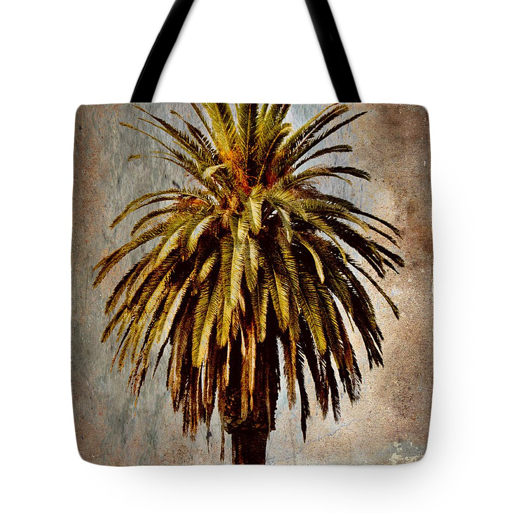 Palm Tote Bag featuring the mixed media Catalina 1932 Postcard by Carol Leigh
