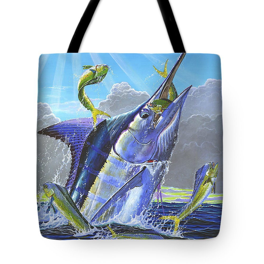 Marlin Tote Bag featuring the painting Catch Em Up Off0029 by Carey Chen