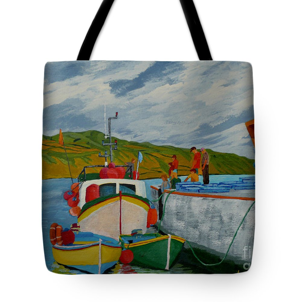 Boats Tote Bag featuring the painting Catch Of The Day by Anthony Dunphy