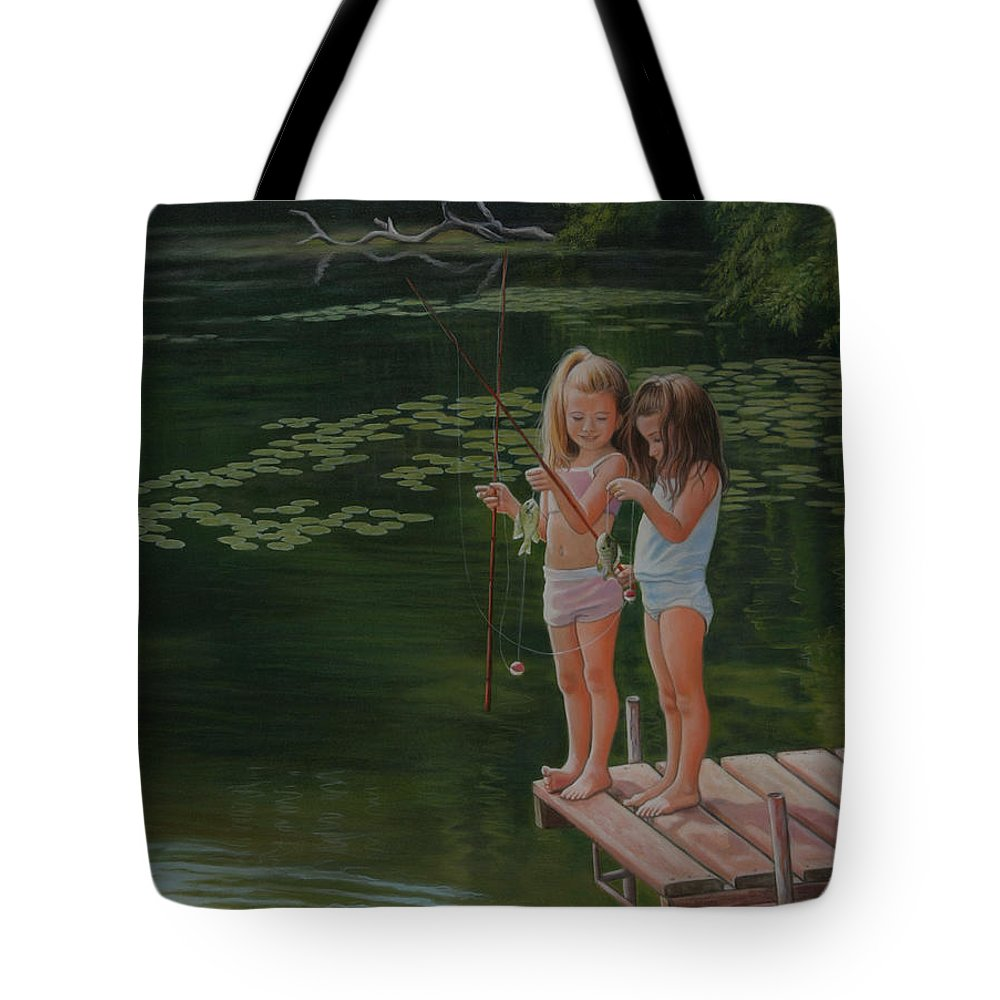 Realistic Tote Bag featuring the painting Catch Of The Day by Holly Kallie