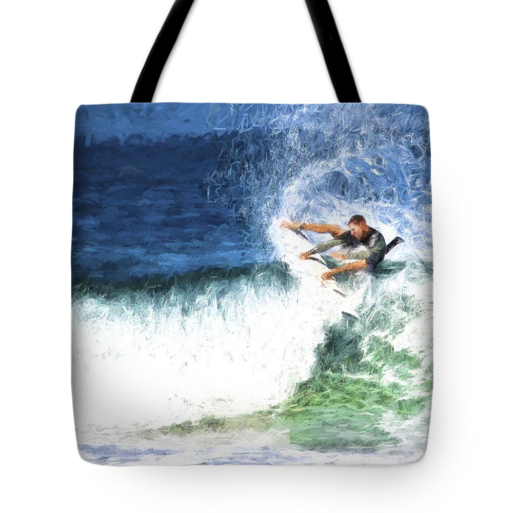 Surfer Tote Bag featuring the photograph Catching a wave by Sheila Smart Fine Art Photography
