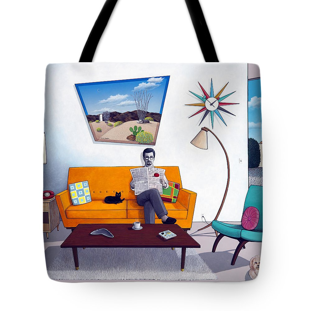 Mid Century Modern Tote Bag featuring the painting Catching Up by Snake Jagger