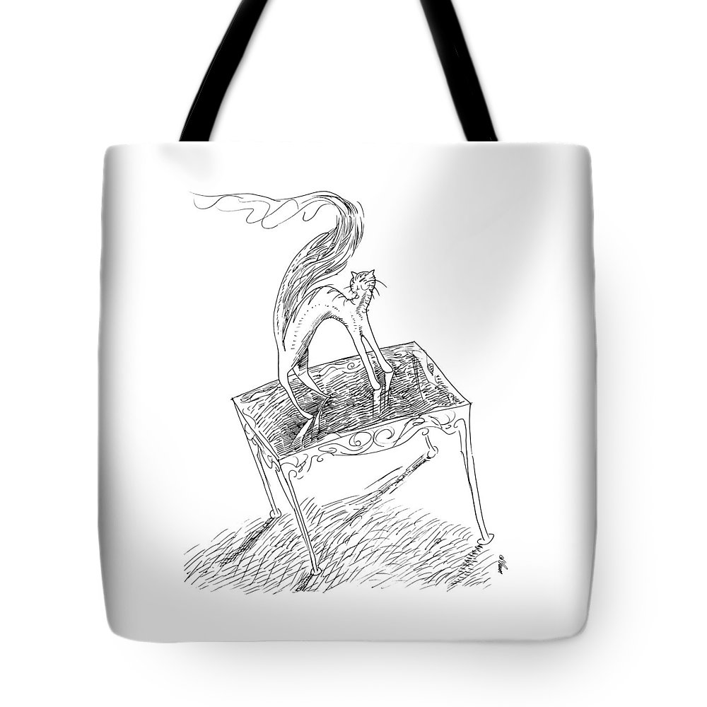 Cat Tote Bag featuring the drawing Catfire Tail Ablaze by Ch' Brown