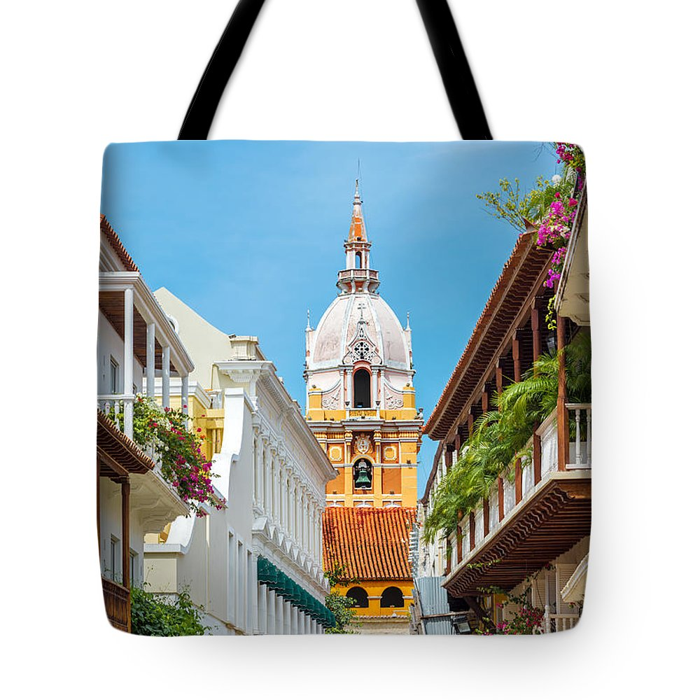 Colombia Tote Bag featuring the photograph Cathedral And Balconies by Jess Kraft