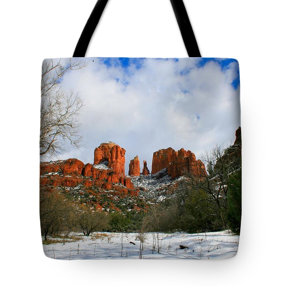 Arizona Tote Bag featuring the photograph Cathedral Sugar by Miles Stites
