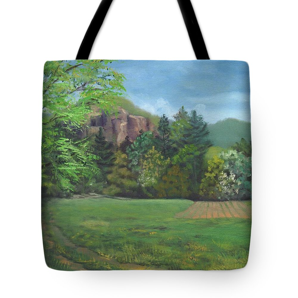 Cathedral Ledge Tote Bag featuring the painting Cathedral Ledge from Westside Road by Sharon E Allen