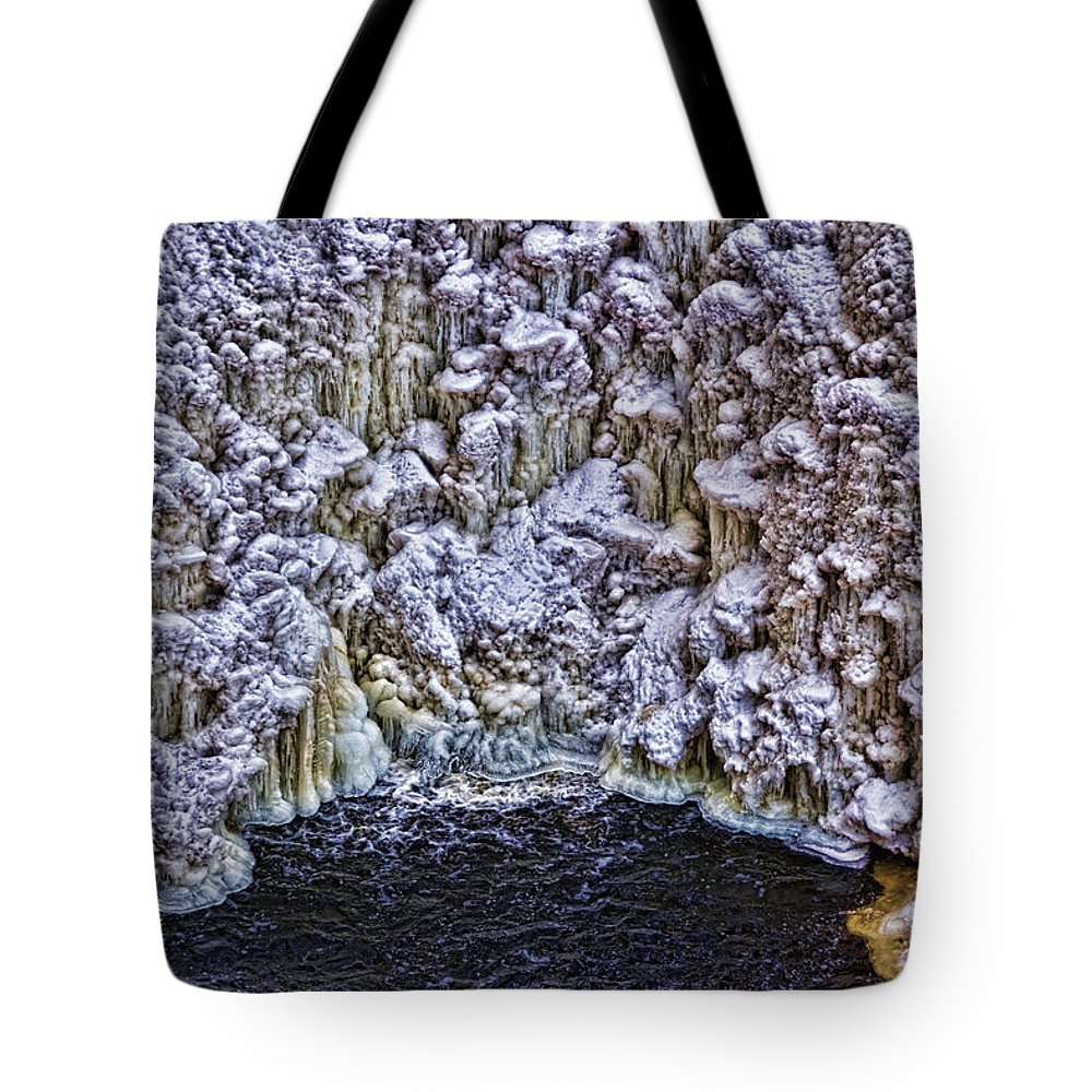 Waterfalls Tote Bag featuring the photograph Cathedral Of Ice by John Welling