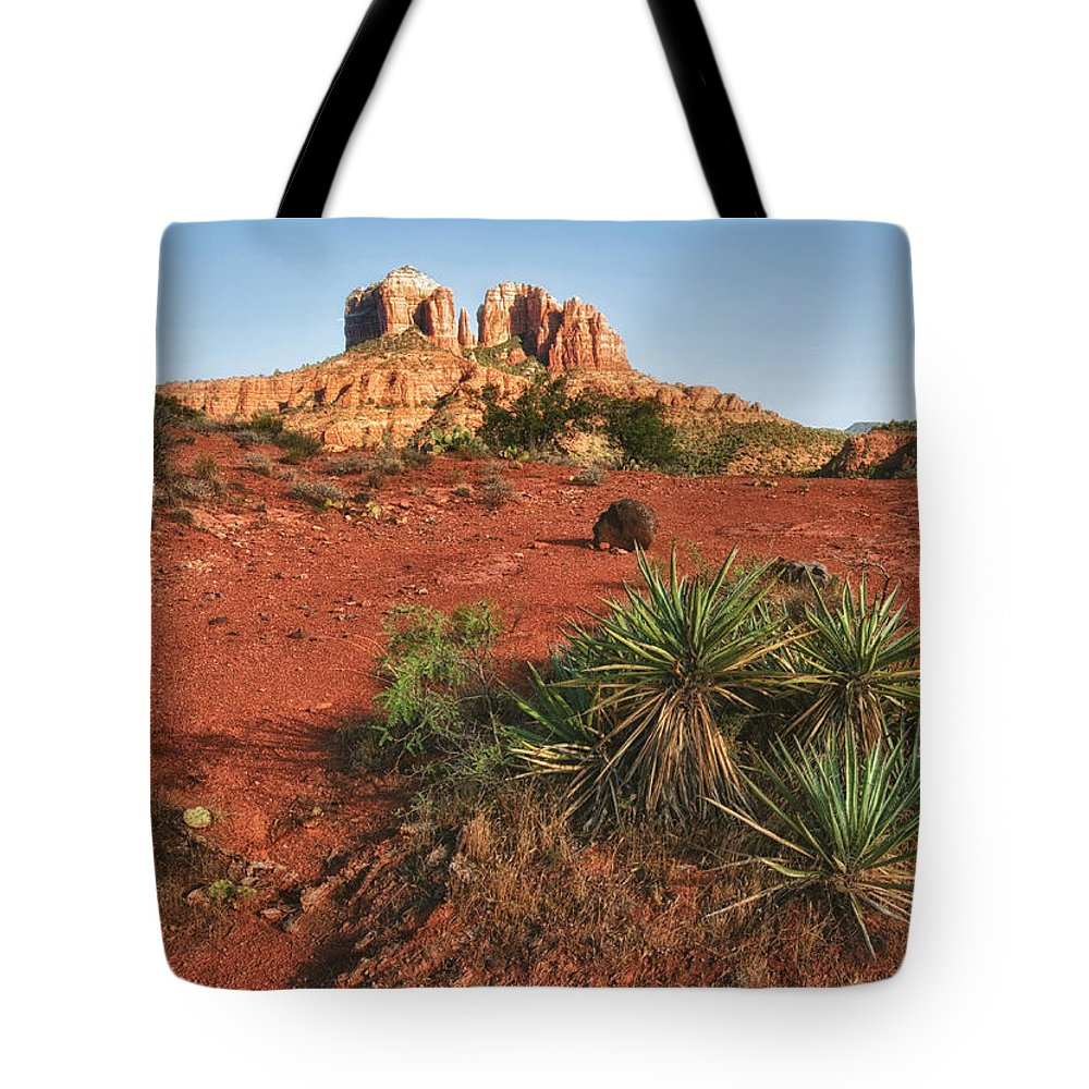Sedona Tote Bag featuring the photograph Cathedral Rock by Claudia Kuhn