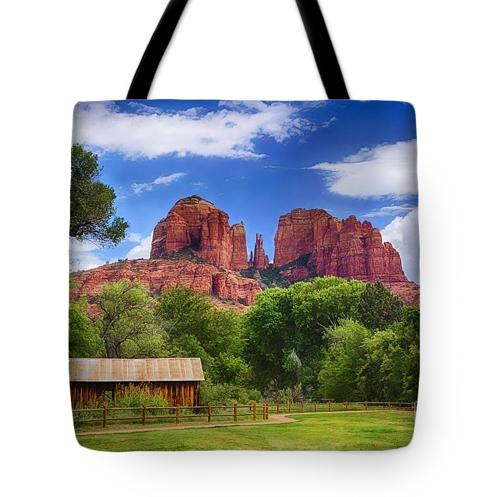 Cathedral Rock Tote Bag featuring the photograph Cathedral Rock by Priscilla Burgers