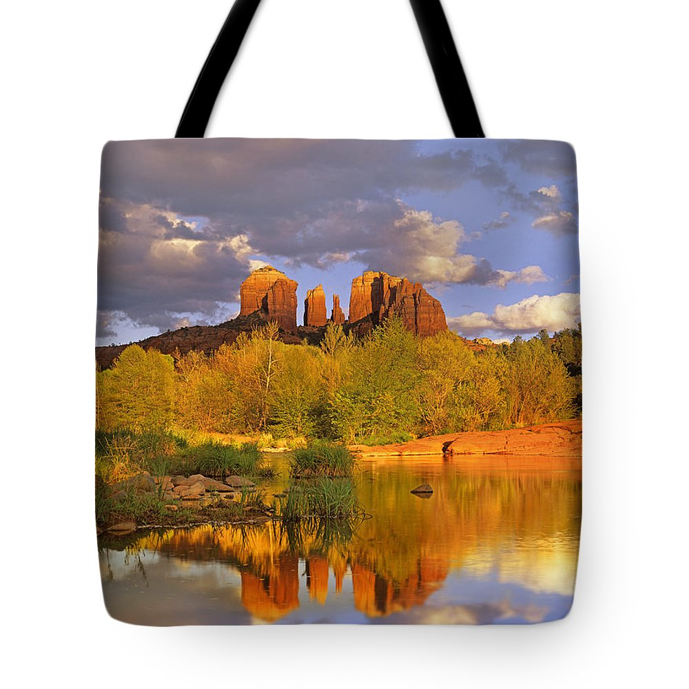 Arizona Tote Bag featuring the photograph Cathedral Rock Reflected In Oak Creek by Tim Fitzharris