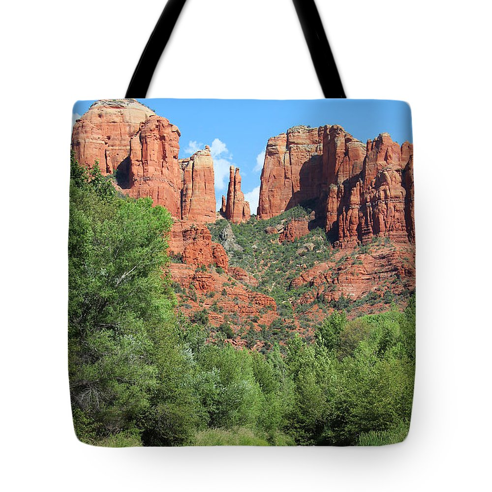Cathedral Tote Bag featuring the photograph Cathedral Rock Sedona by Jemmy Archer