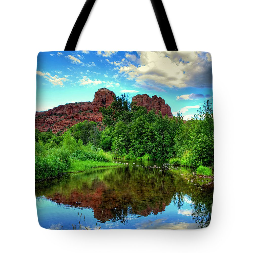 Sedona Tote Bag featuring the photograph Cathedral Rocks At Red Rock Crossing by K D Graves