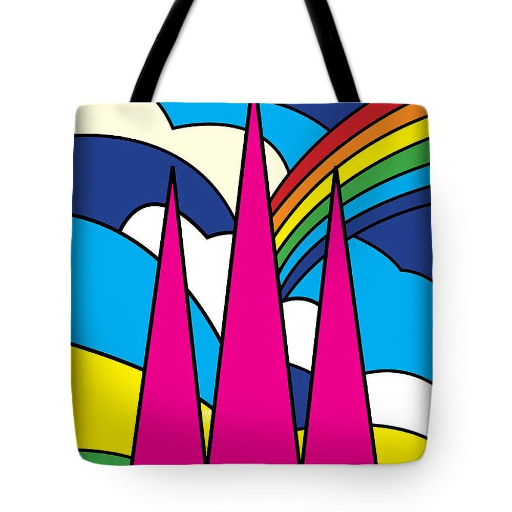 Autumn Tote Bag featuring the painting Cathedral Spires Stained Glass Lichfield by Neil Finnemore