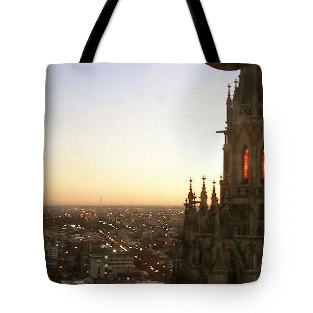 Cathedral Tote Bag featuring the photograph Cathedral Sunset - La Plata by Marcello Cicchini