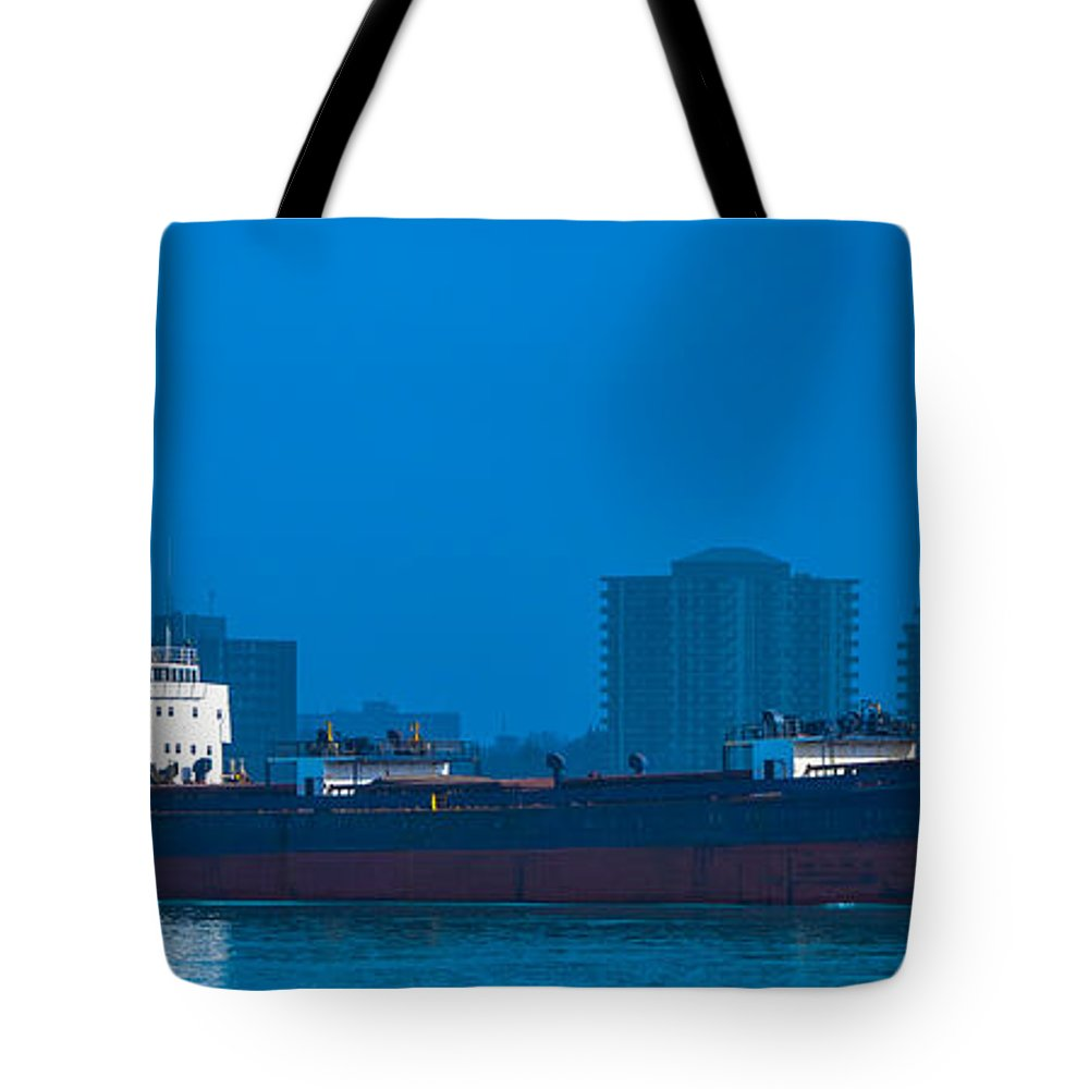 Catherine Desgagnes Tote Bag featuring the photograph Catherine Desgagnes Downbound At Port Huron by Gales Of November