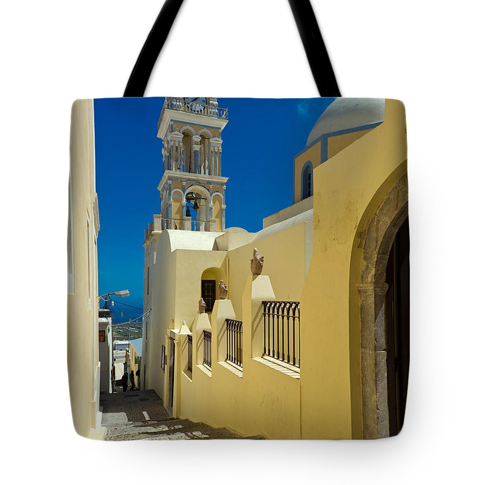 Catholic Cathedral Of St John The Baptist Tote Bag featuring the photograph Catholic Cathedral Santorini by Gary Eason