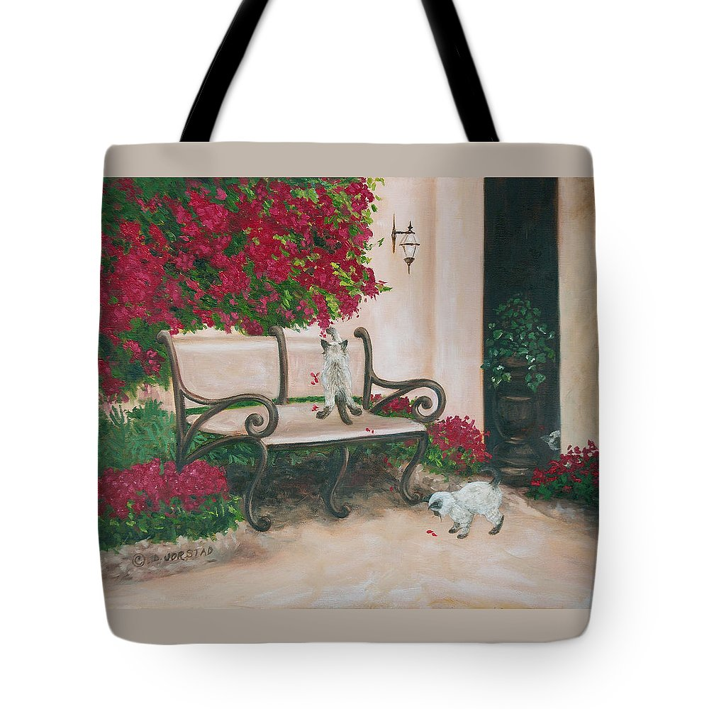 Cat Fine Art Tote Bag featuring the painting Cat Art Print On Canvas Oil Painting Hire Commission Pet Portrait Artist by Diane Jorstad