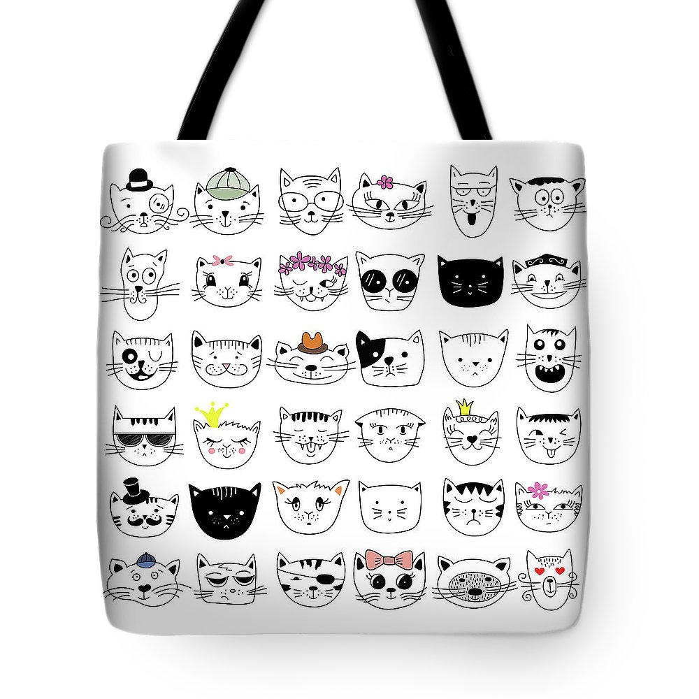 Pets Tote Bag featuring the digital art Cats, Set Of Cute Doodle by Alona Savchuk
