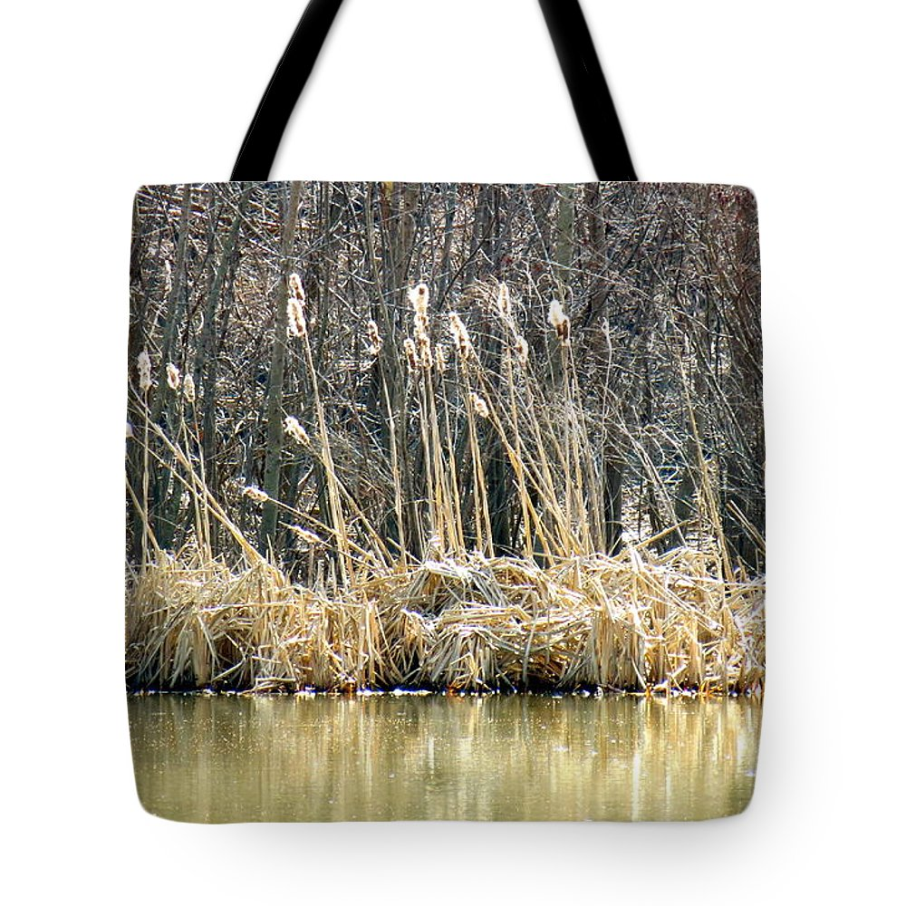 Cattails Tote Bag featuring the photograph Cattail Reflections by Shelissa Dawn Savage