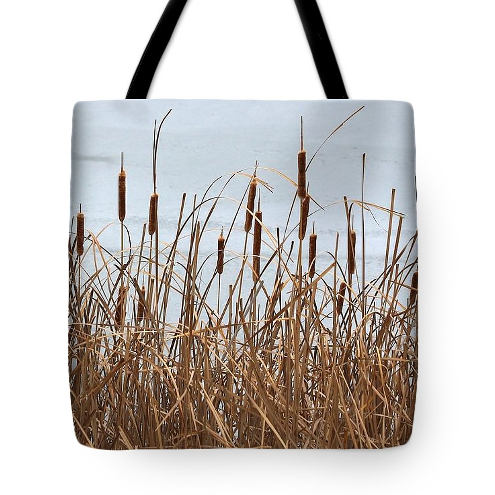 Cattails Tote Bag featuring the photograph Cattails by Angela Koehler