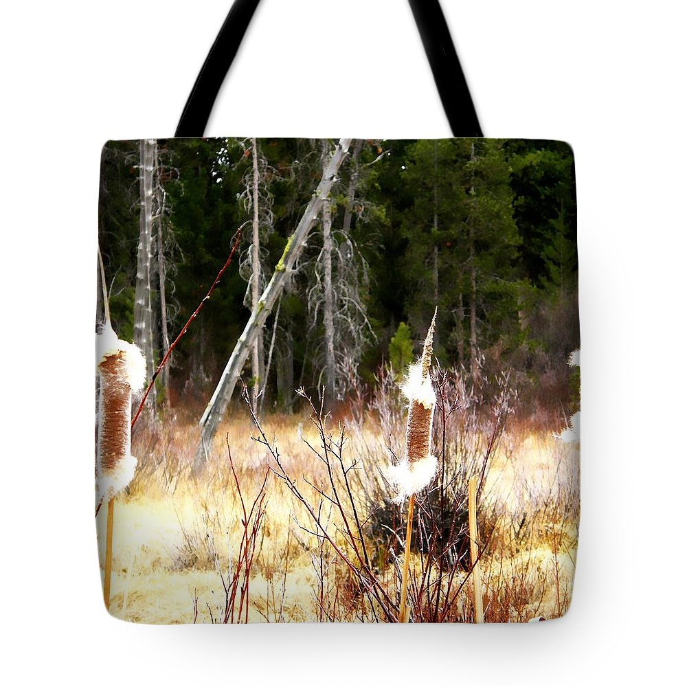 Island Park Tote Bag featuring the photograph Cattails by Image Takers Photography LLC