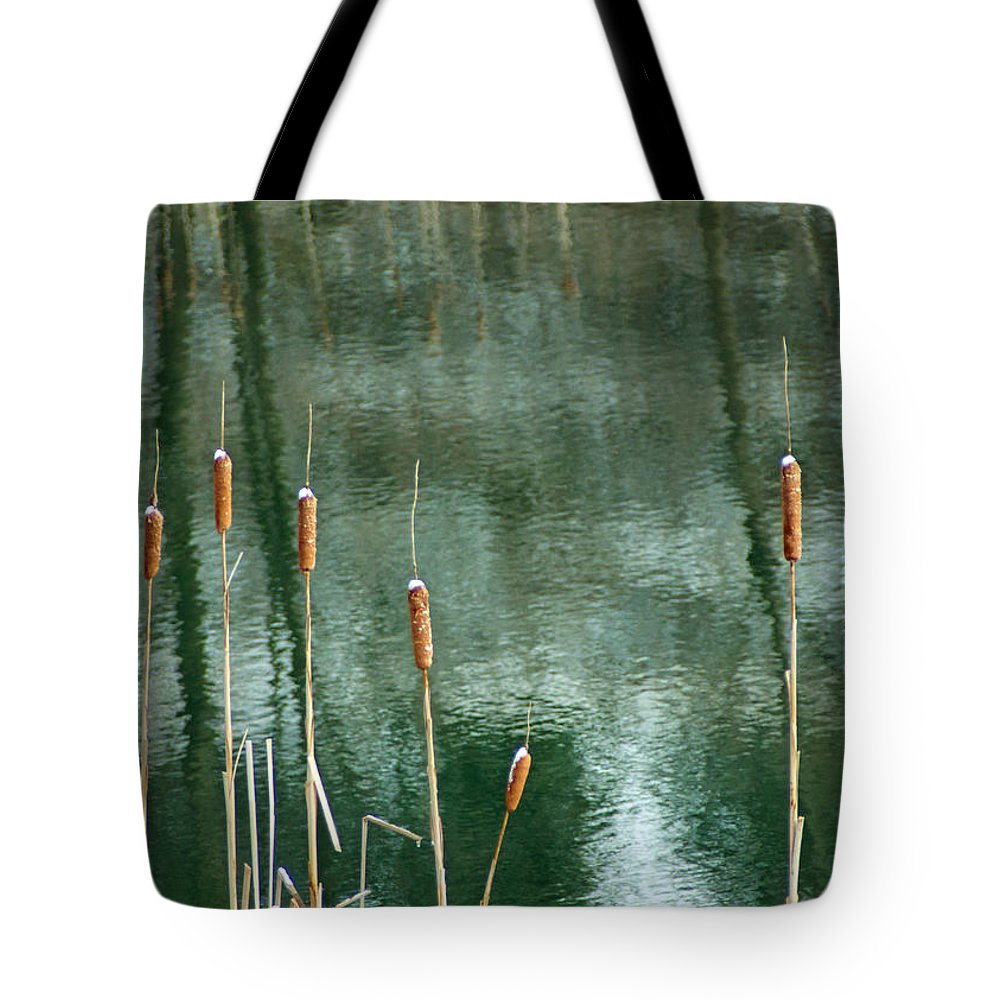 Cattail Tote Bag featuring the photograph Cattails On Green by Photographic Arts And Design Studio