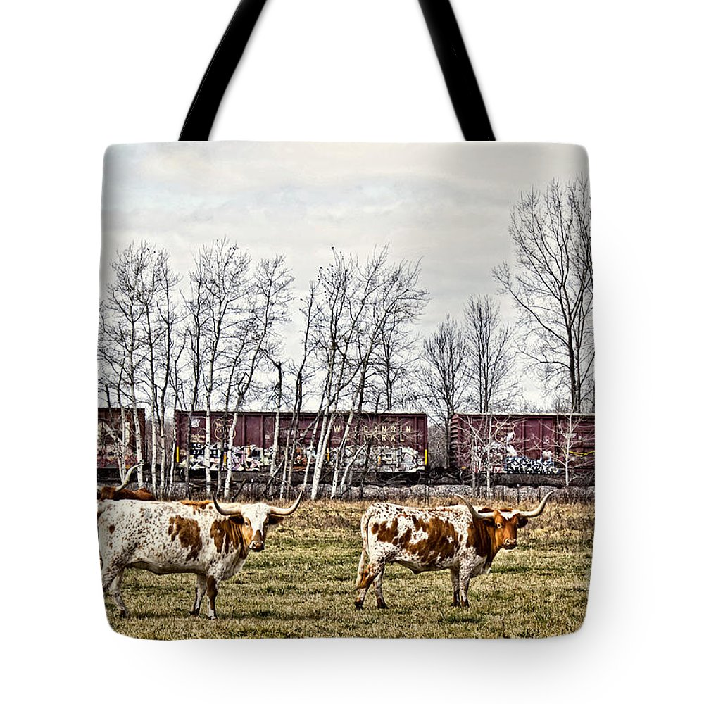 Cattle Tote Bag featuring the photograph Cattle Train by Ms Judi