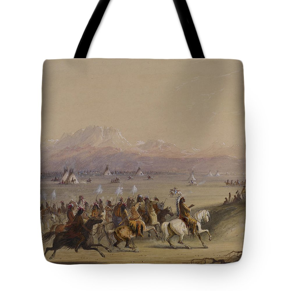 Alfred Jacob Miller Tote Bag featuring the painting Cavalcade By The Snake Indians by Celestial Images