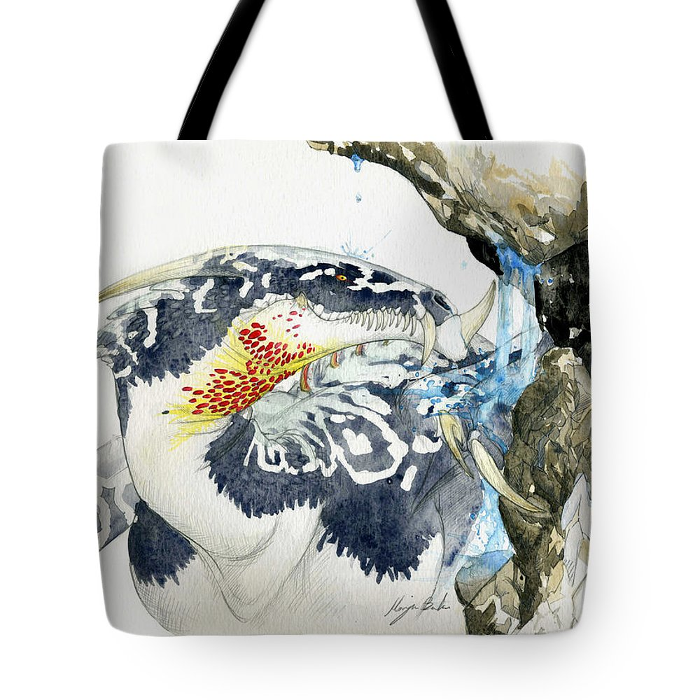 Dragon Tote Bag featuring the painting Cave Dragon by Morgan Banks