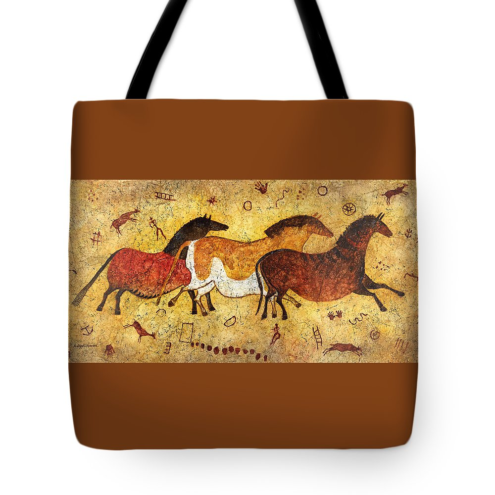 Cave Tote Bag featuring the painting Cave Horses by Hailey E Herrera
