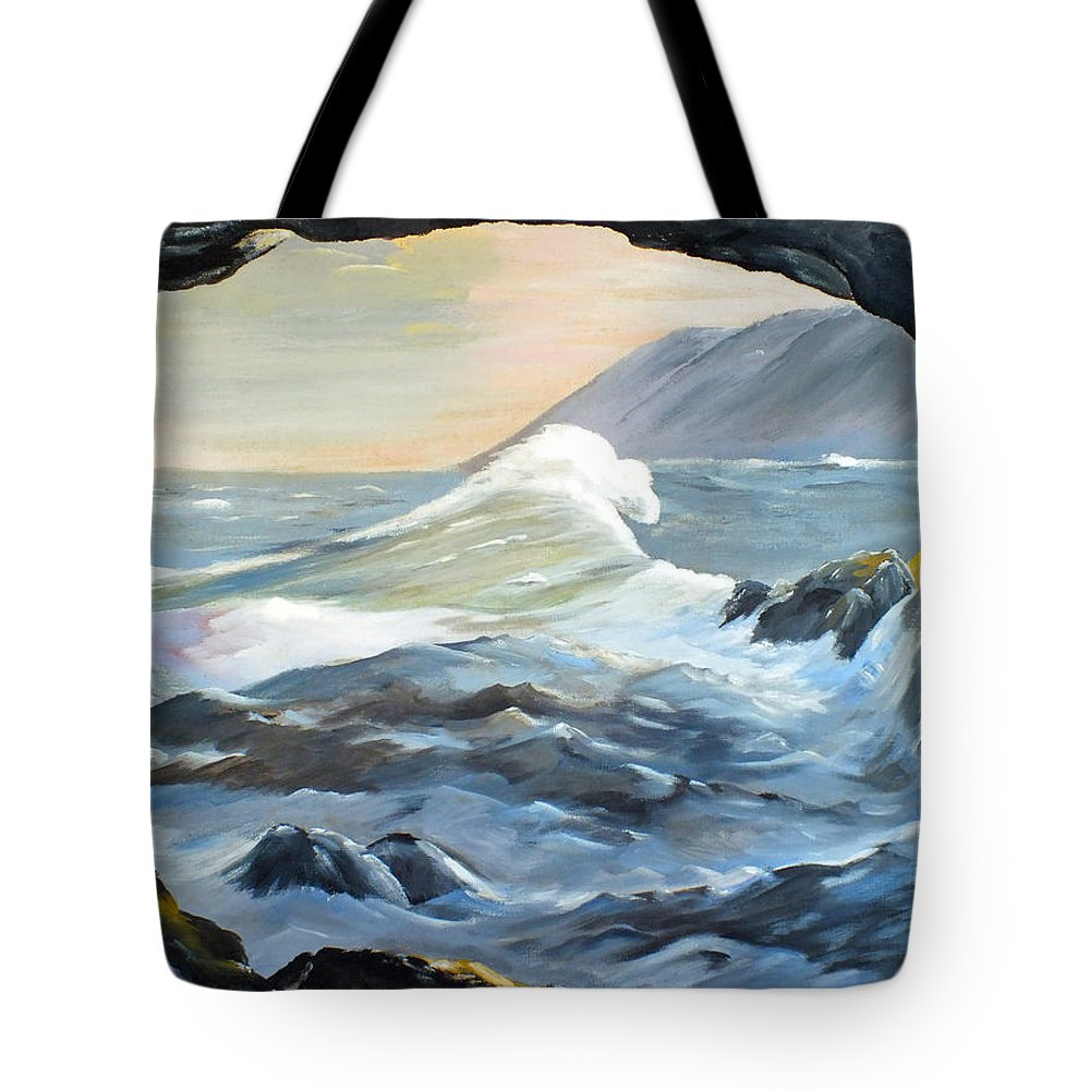 Cave Tote Bag featuring the painting Cave Wave By Chris by Chris McCullough