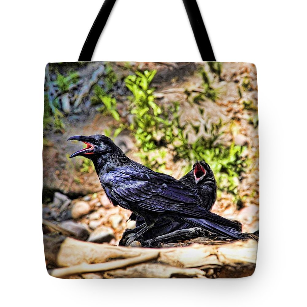 Crow Tote Bag featuring the digital art Caw And Friend by Jim Buchanan